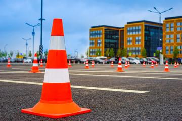 Signal road cone. Road marking. Protective cone. Plastic road cone.