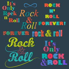 Rock n 'roll lettering, colored bright inscriptions