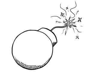 Vector Cartoon of Bomb With Fuse Burning