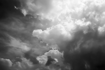 Panorama and Dramatic of chaos sky and clouds before storm in Black and white.