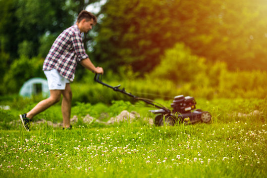 Young man mowing lawn