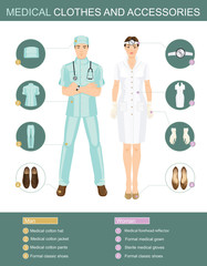 Vector illustration of professional people in medical gown isolated on white background. Medical clothes and accessories