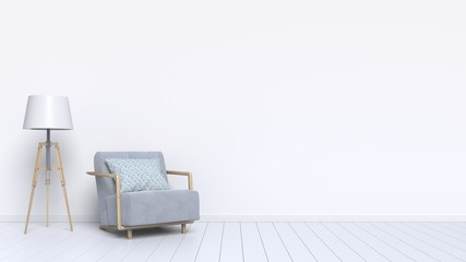 Interior design consists of a armchair and a lamp on the white background,3D Rendering
