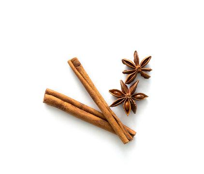 Two cinnamon sticks lying on table, topview