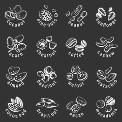 collection of nuts icons on black background