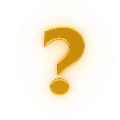 question mark 3d colored gold yellow interrogation point punctuation mark asking sign isolated on white background in high resolution for business presentation and print