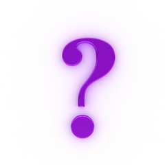 question mark 3d colored purple lila violet interrogation point punctuation mark asking sign isolated on white background in high resolution for business presentation and print