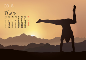 CALENDRIER - 2018 - Yoga - Zen - Mars