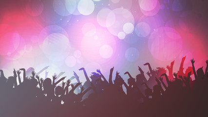 Party People Crowd, Festive Disco Event Background - Vector Illustration.