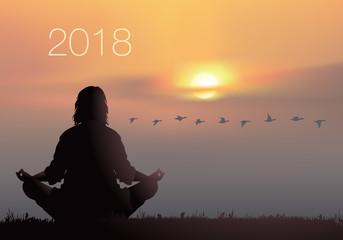 CALENDRIER - 2018 - Yoga - Zen - Couverture - carte de vœux