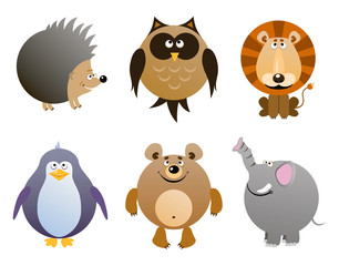 Set of vector cartoon animals - elephant, hedgehog, owl, penguin, bear, lion. Vector illustration.