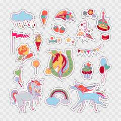 Unicorn multicolor stickers with rose, cake, sweets, ice-cream, cloud, stars, flag, baloons and unicorns