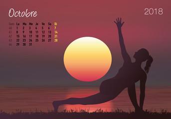CALENDRIER - 2018 - Yoga - Zen - Octobre