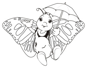 Butterfly, monarch, wings, flying, insect, nature, cartoon, black, white, happy, face, hands, hold, coloring, umbrella