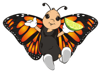 Butterfly, monarch, wings, flying, insect, nature, cartoon, black, orange, white, happy, face, hands, hold, food, eat, green, lime,
