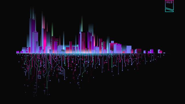 Futuristic city in neon lights. Retro Style 80s