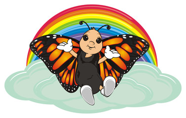 Butterfly, monarch, wings, flying, insect, nature, cartoon, black, orange, white, happy, face, hands, sit, top, rainbow, shy, clouds,