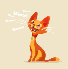 Cute cat character meow. Vector flat cartoon illustration