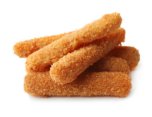 Cheese sticks on white background
