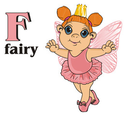 Fairy, wings, magic, fantasy, little, cartoon, girl,  magic, butterfly, pink, stand, golden, crown, abc