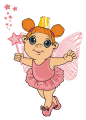Fairy, wings, magic, fantasy, little, cartoon, girl,  magic, butterfly, pink, stand, hold, stars, wand, golden, crown