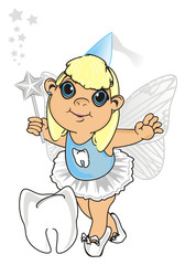 Fairy, wings, magic, fantasy, little, cartoon, girl,  magic, butterfly, Fairy tale, symbol, teeth, tooth fairy, stand, wand, stars