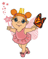 Fairy, wings, magic, fantasy, little, cartoon, girl,  magic, butterfly, crown, pink, wand, stand