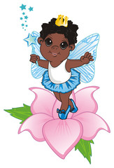 Fairy, wings, magic, fantasy, little, cartoon, girl,  magic, butterfly, stand, blue, wand, crown, flower, afro