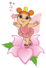Fairy, wings, magic, fantasy, little, cartoon, girl,  magic, butterfly, flower, stand, wand