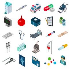 medicine icon isometric set