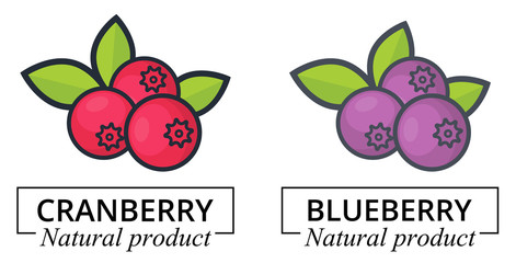 cartoon cranberry and blueberry label