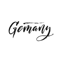 "Hand drawn word. Brush pen lettering with phrase ""Germany""."