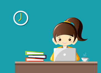 Businesswoman sitting at the table and working on the computer.Vector Illustration