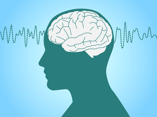 Brain waves vector illustration with face profile.