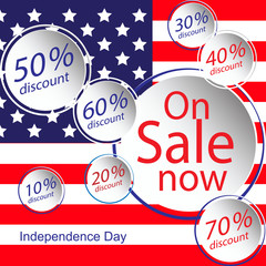 Sale for American Independence Day 4 th july. Discount poster design. National flag. Vector illustration.Patriotic symbol holiday poster. Happy independence day, USA Celebration wallpaper.