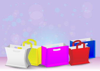 Collection color paper shopping bag with colorful background. vector EPS10