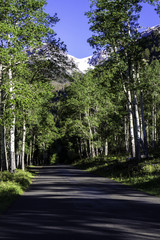 Scenic drive at dawn in Rocky Mountain National Park