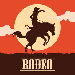 rodeo poster with cowgirl silhouette riding on wild horse and bull. vector illustration