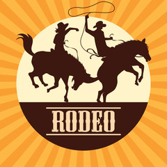 rodeo poster with cowboy and cowgirl silhouette riding on wild horse and bull. vector illustration
