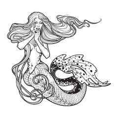 Beautiful mermaid girl sitting hand drawn artwork. Sensual and dangerous ocean siren in retro style. Sea, fantasy, spirituality, mythology, tattoo art, coloring books. Isolated vector illustration.
