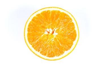Split oranges on white background