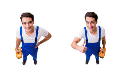 The funny repairman with tools isolated on white
