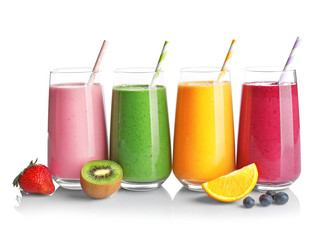Fruit smoothies with kiwi, blueberry, orange, strawberry flavors on white background