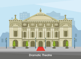 The building of the historic Drama Theater in Paris. Vector illustration.