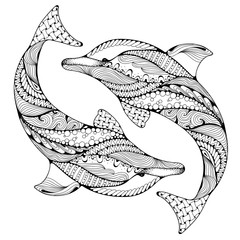 Stylized ocean dolphin animal. Freehand sketch for adult anti stress coloring book page with doodle and zentangle elements. Ornamental pattern for relax and meditation