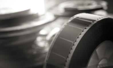 Past time movie symbol, 35 mm film reel evocative objects