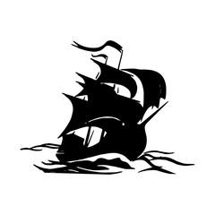 black ship silhouette on white background