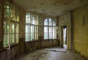 Empty hall in an abandoned hotel