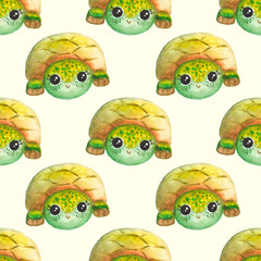 Seamless pattern with watercolor cartoon turtles