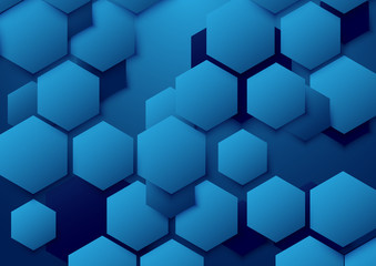 Abstract blue hexagon background. Vector Illustration